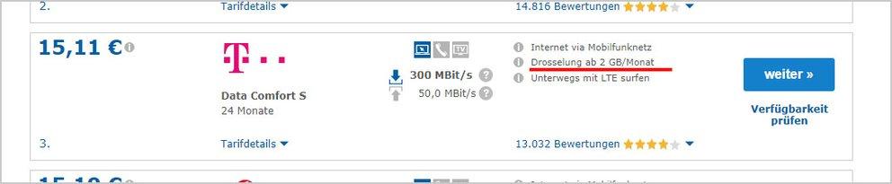 Beispiel: Hier drosselt die Telekom die Internetgeschwindigkeit nach einem Verbrauch von 2 GB pro Monat