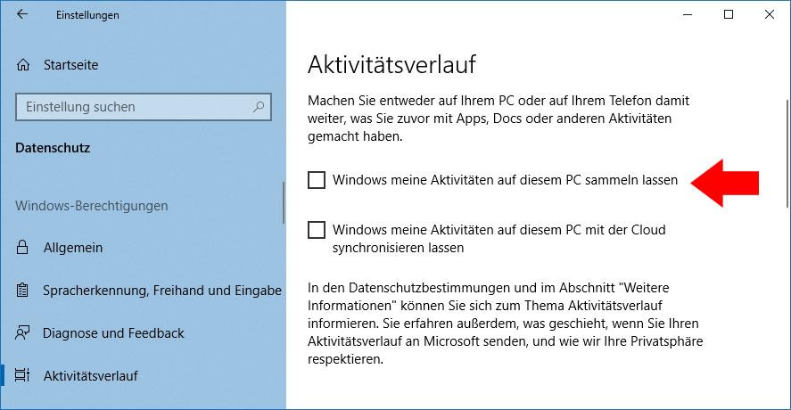 Windows 10 Zeitachse Deaktivieren