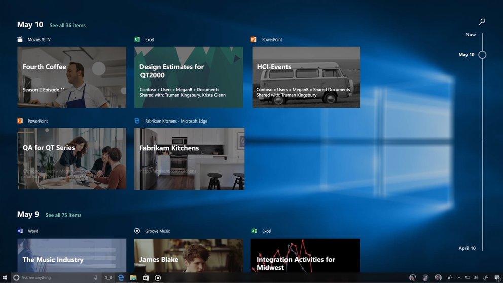 Die Zeitachse von Windows 10 zeigt an, was ihr alles in den letzten Tagen in Windows gemacht habt