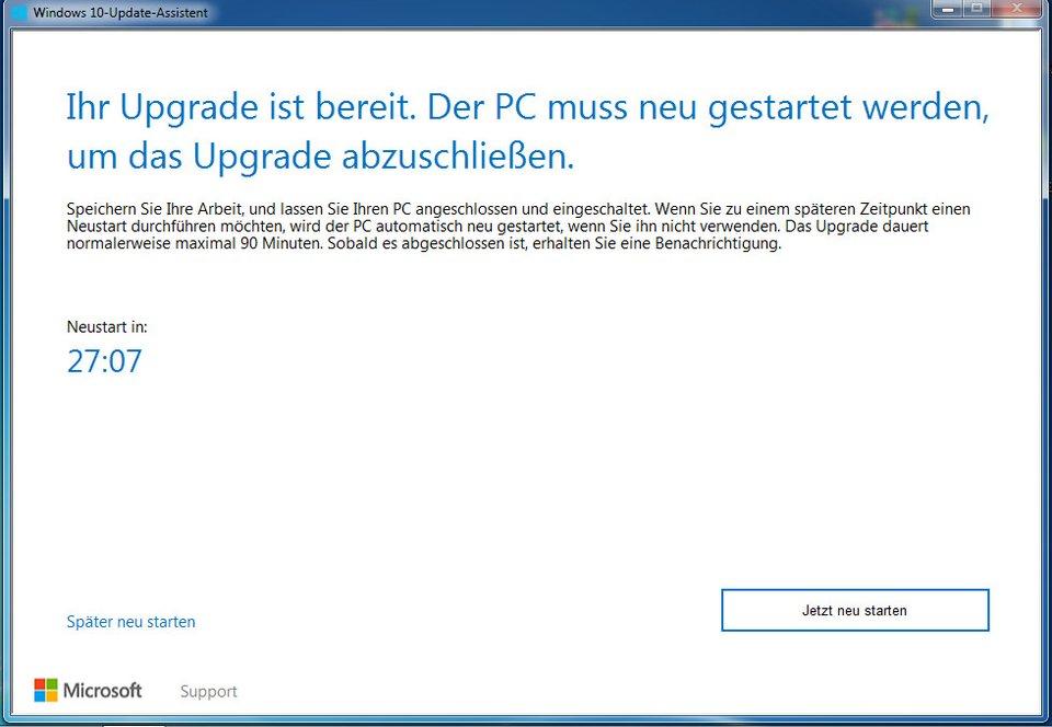 Windows 10 Update Starten
