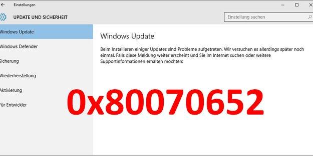 Lösung: Update-Fehler 0x80070652 (Windows 10)