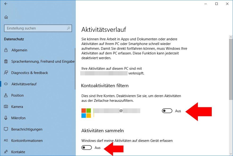 Hier deaktiviert ihr die Zeitachse in Windows 10