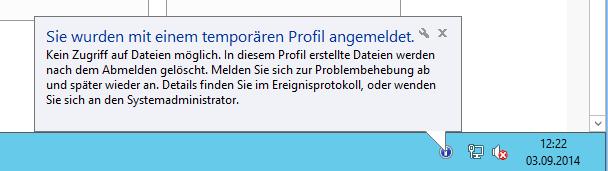 servergespeichertes profil reparieren