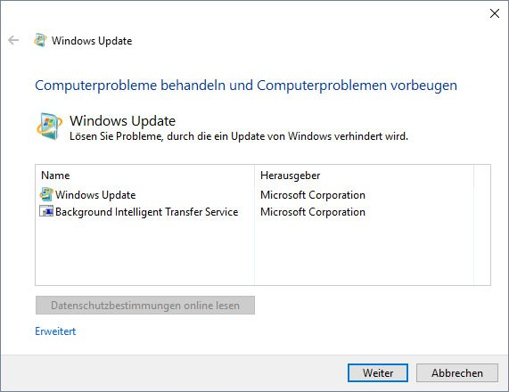 Das Tool behebt Probleme mit der Funktion Windows Update