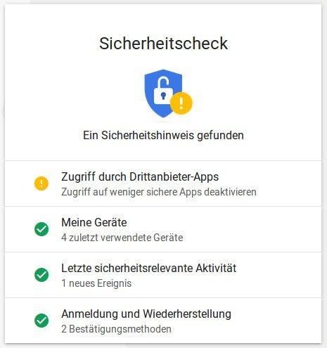 Hier seht ihr den Google-Sicherheitscheck