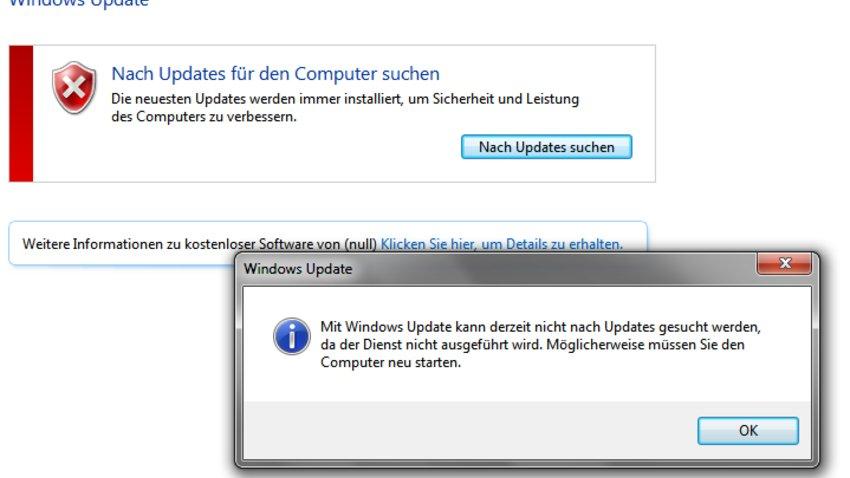 Mit Windows Kann Derzeit Nicht Nach Updates Gesucht Werden Da Der Dienst Nicht Ausgeführt Wird