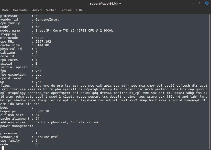 Der Befehl zeigt euch alle wichtigen CPU-Informationen auf einmal an