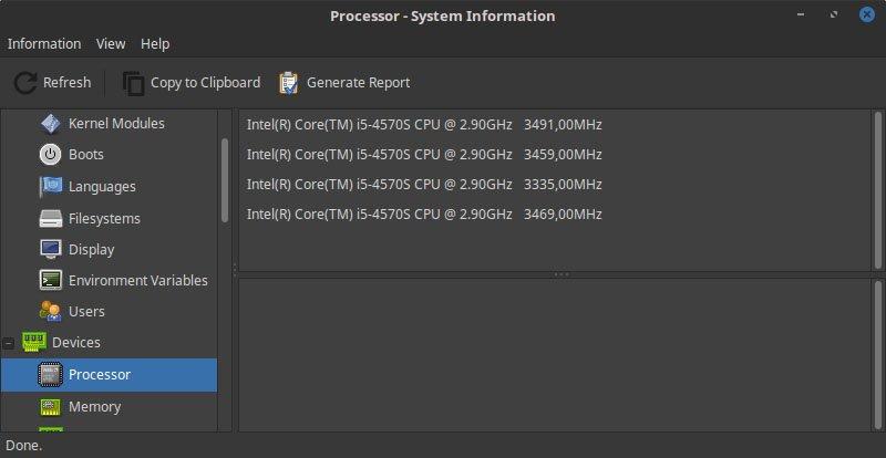 Hardinfo zeigt die nötigsten CPU-Informationen an
