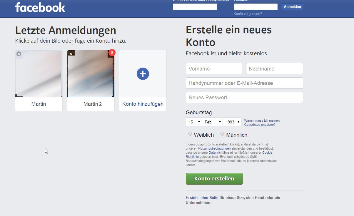 Facebook Konto Wechseln