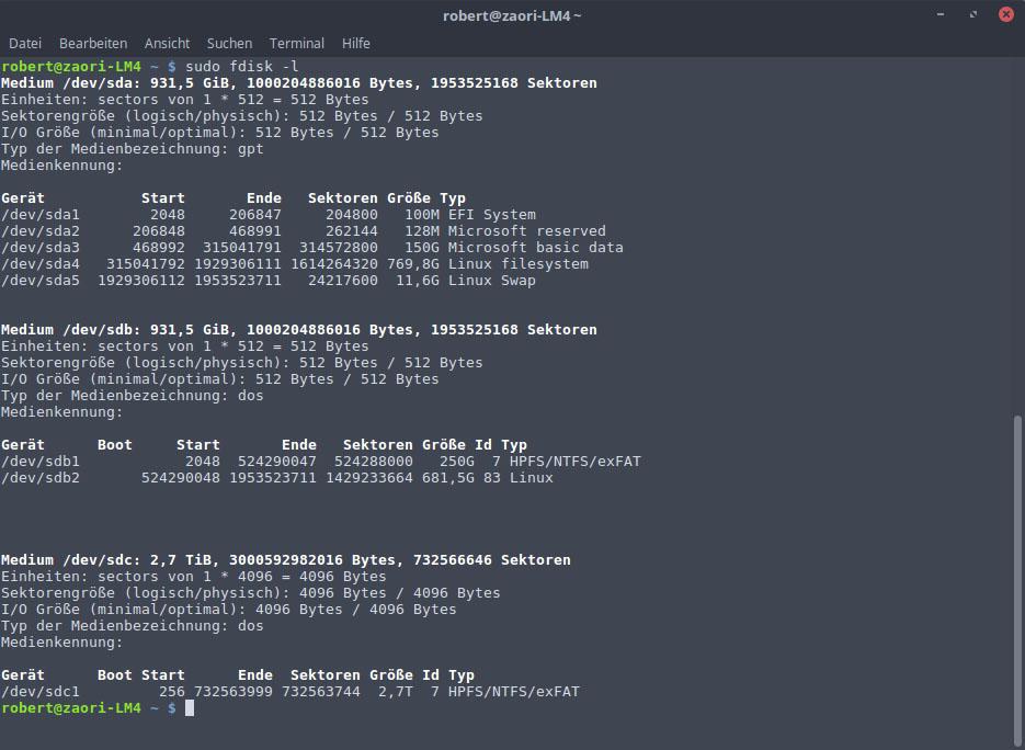 Linux Festplatten Anzeigen