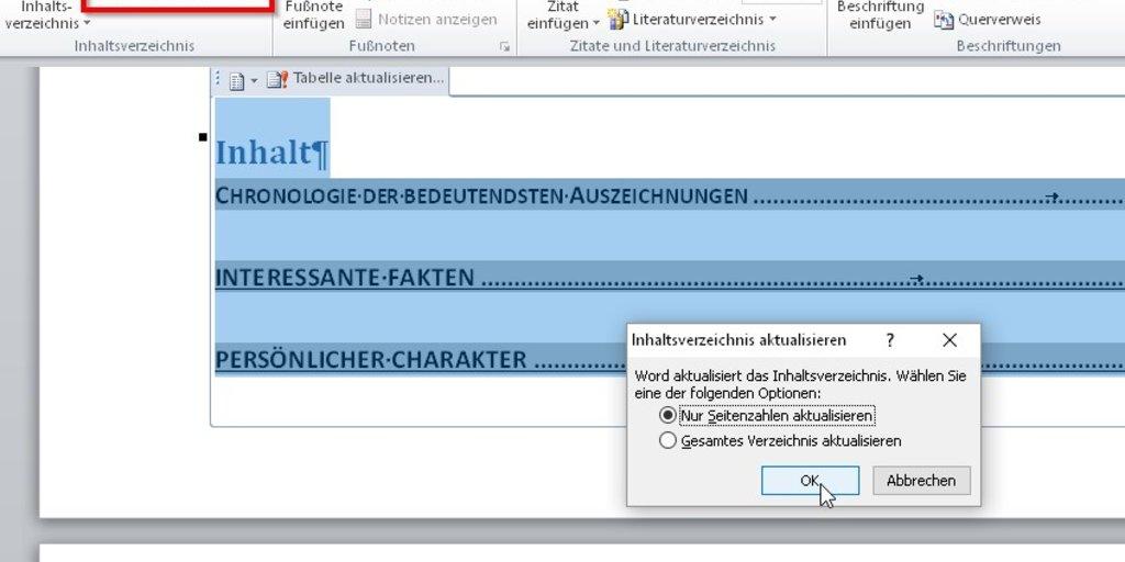 Word: Inhaltsverzeichnis aktualisieren – so klappt\'s – GIGA