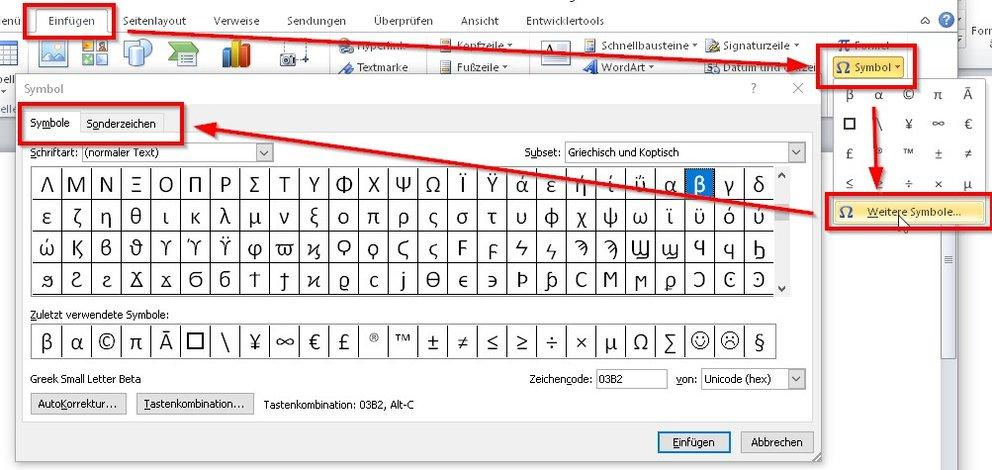 word-symbole-sonderzeichen