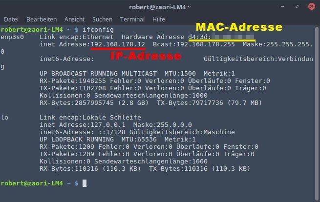 Hier steht IP- und Mac-Adresse.
