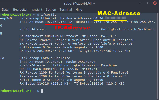 mac adresse ip herausfinden linux