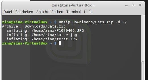 Linux Zip Entpacken