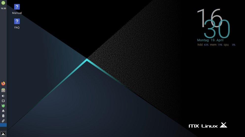 So sieht MX Linux 19.4 aus. Bild: GIGA