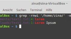 Linux: find text in files – Dateien anzeigen, die bestimmten Text enthalten