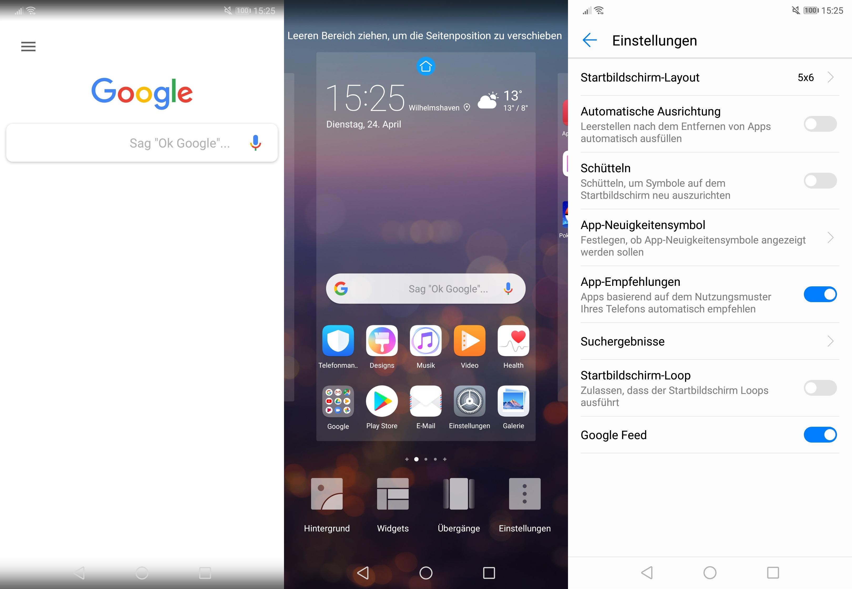 Tipp 20 zum Huawei P20 (Pro): Google Feed ausschalten -