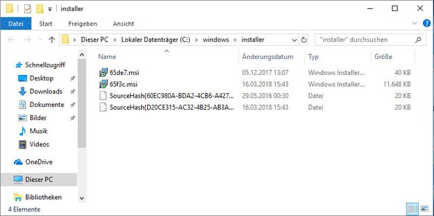 Ordner C:\Windows\Installer sehr groß – Dateien löschen?
