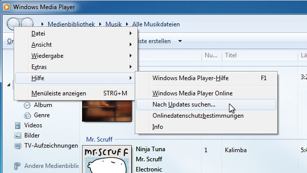 Hier lässt sich der Windows Media Player updaten.