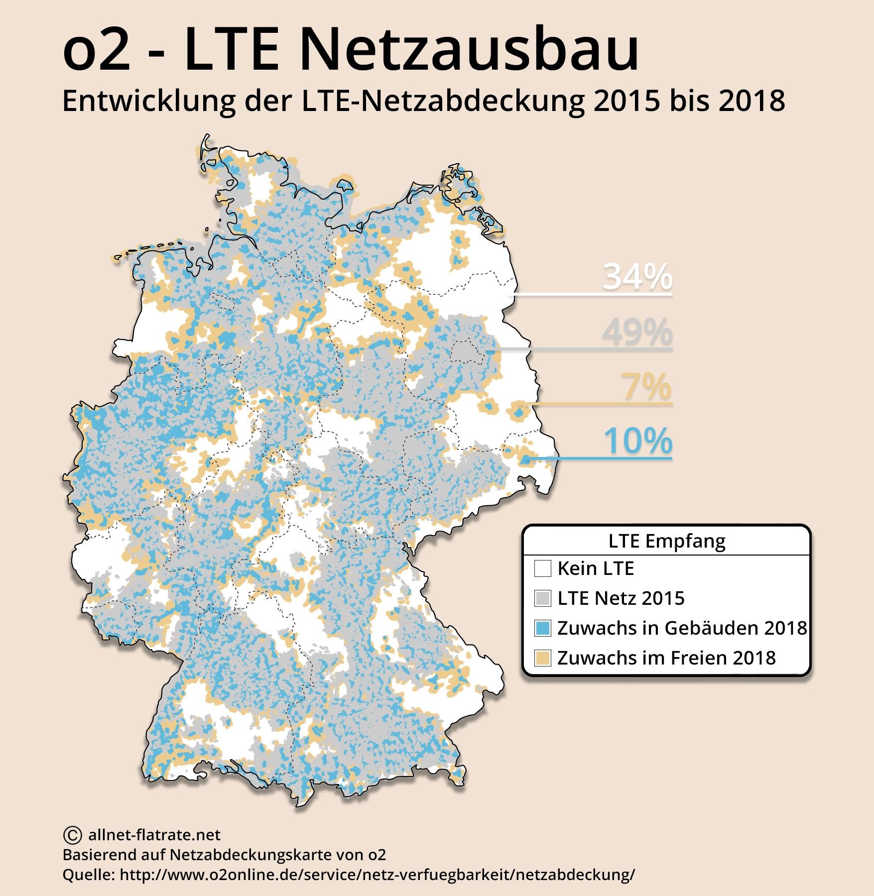 o2 netzabdeckung karte 2020 o2 LTE Netzausbau: Deutschlandkarte zeigt große Lücken