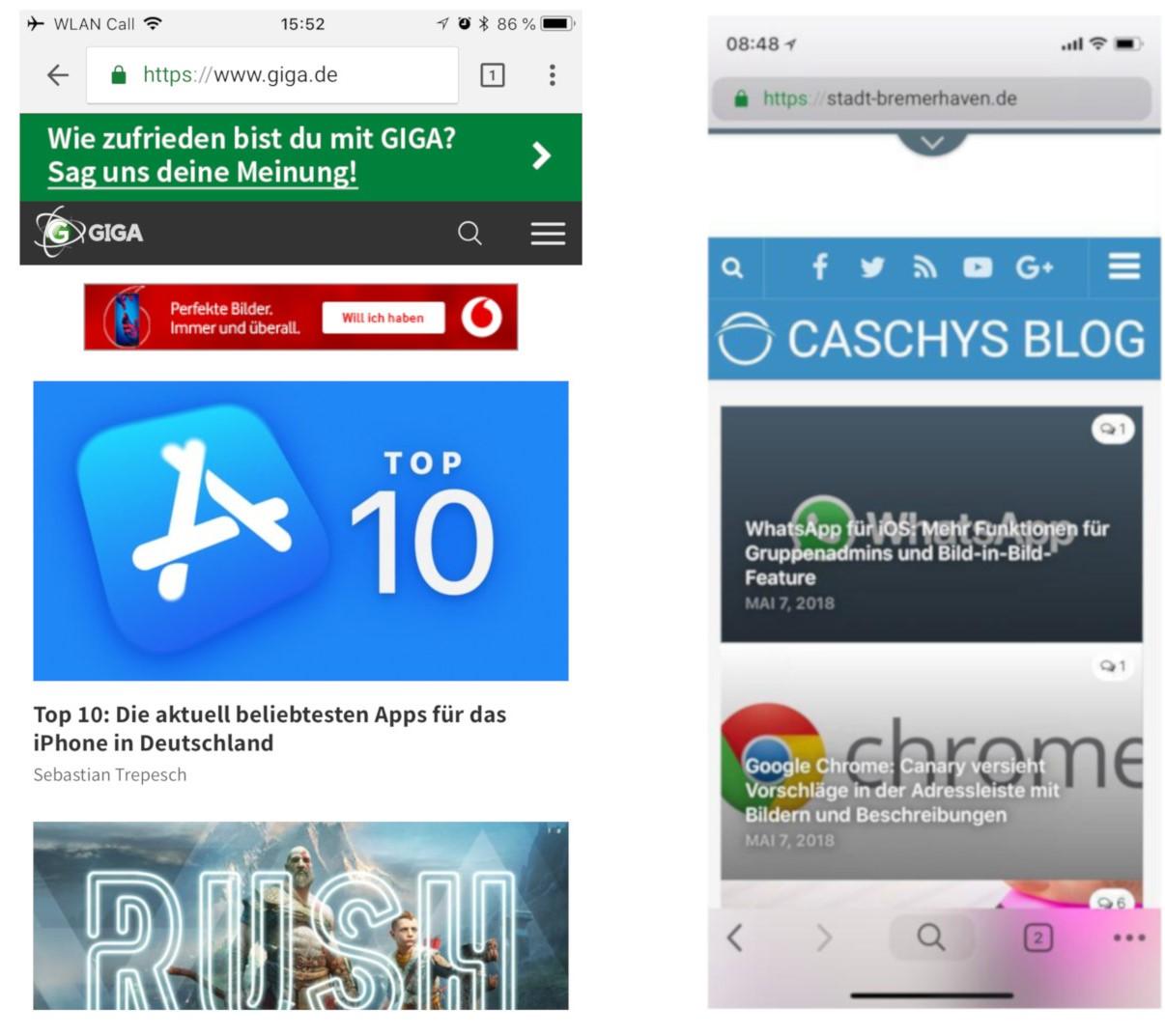 Chrome für iOS: Googles Browser zeigt neues Design