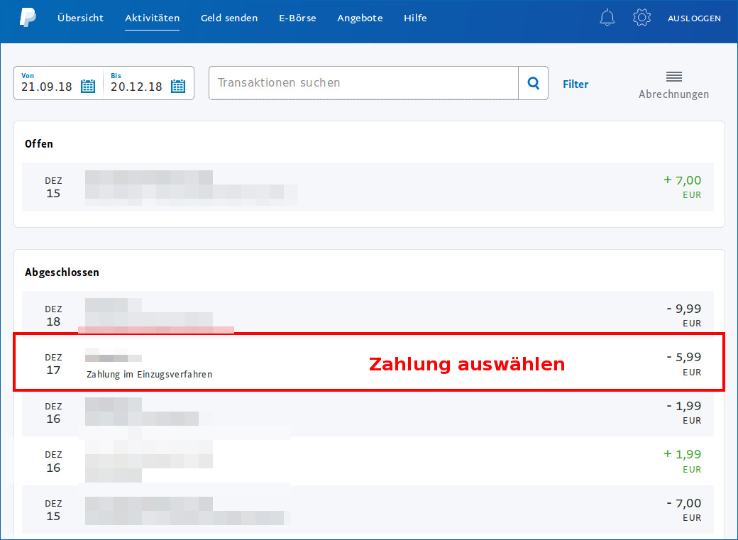 Paypal-Zahlung
