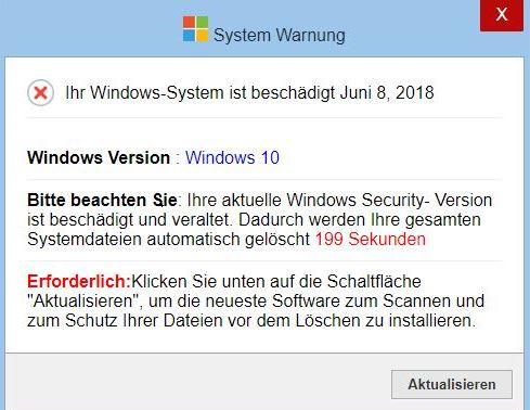 Warnung windows 10 beschädigt