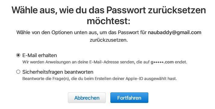 Apple id passwort vergessen iphone löschen