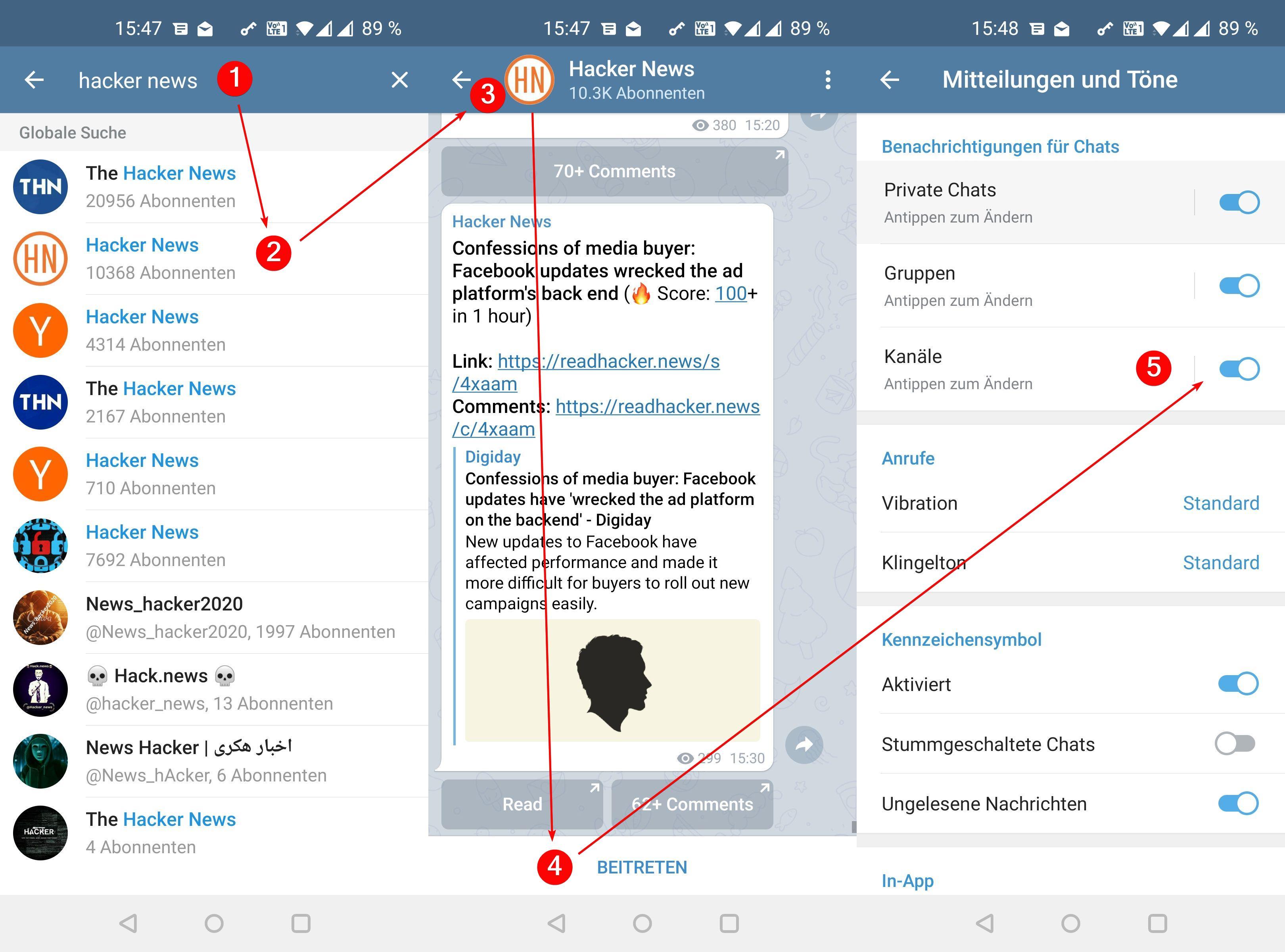 Telegram Kanäle finden, beitreten, anlegen und verlassen – so geht's
