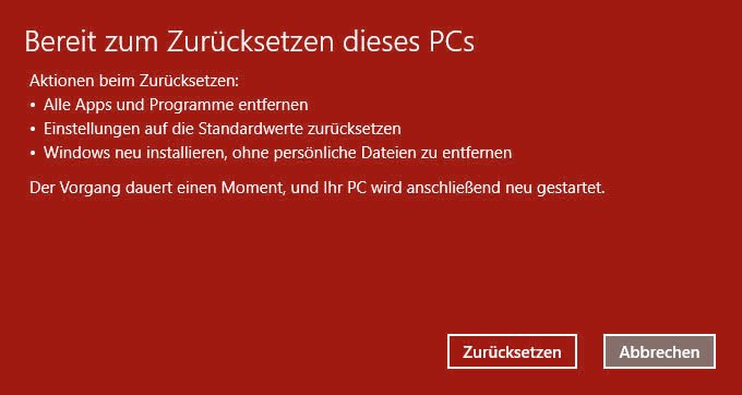 Windows 10 Zurücksetzen Bricht Ab