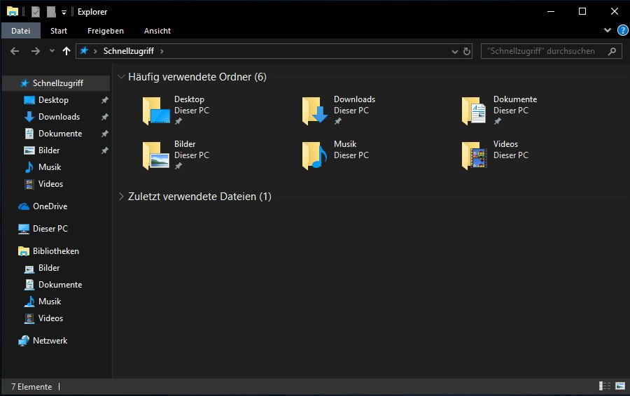 Der Windows-Explorer mit aktiviertem Dark Theme.
