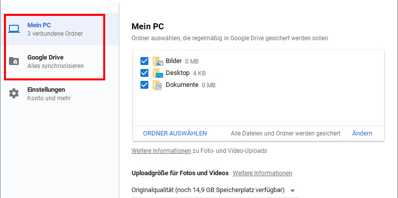 Google Drive Synchronisieren