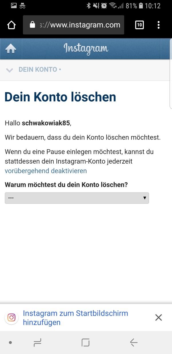Instagram Account Löschen Link
