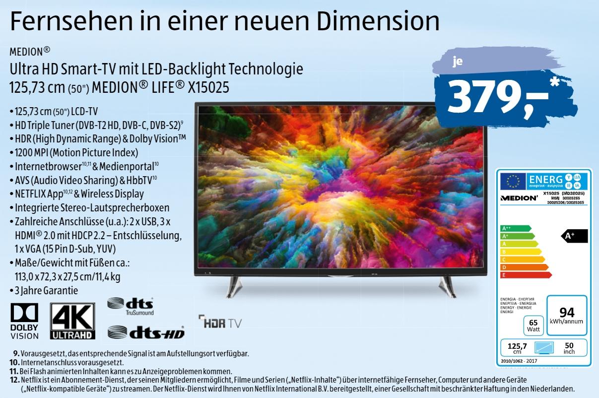 ab heute bei aldi medion tv x15025 mit 4k zum preis von unter 380 euro lohnt sich der. Black Bedroom Furniture Sets. Home Design Ideas