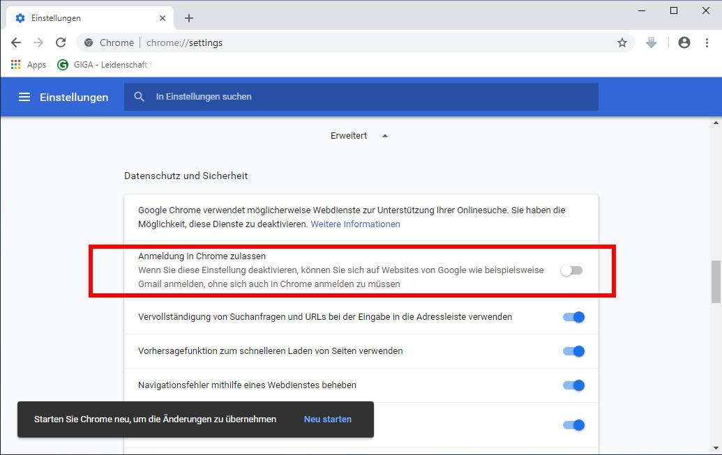Chrome Automatischen Google Login Deaktivieren So Gehts Giga