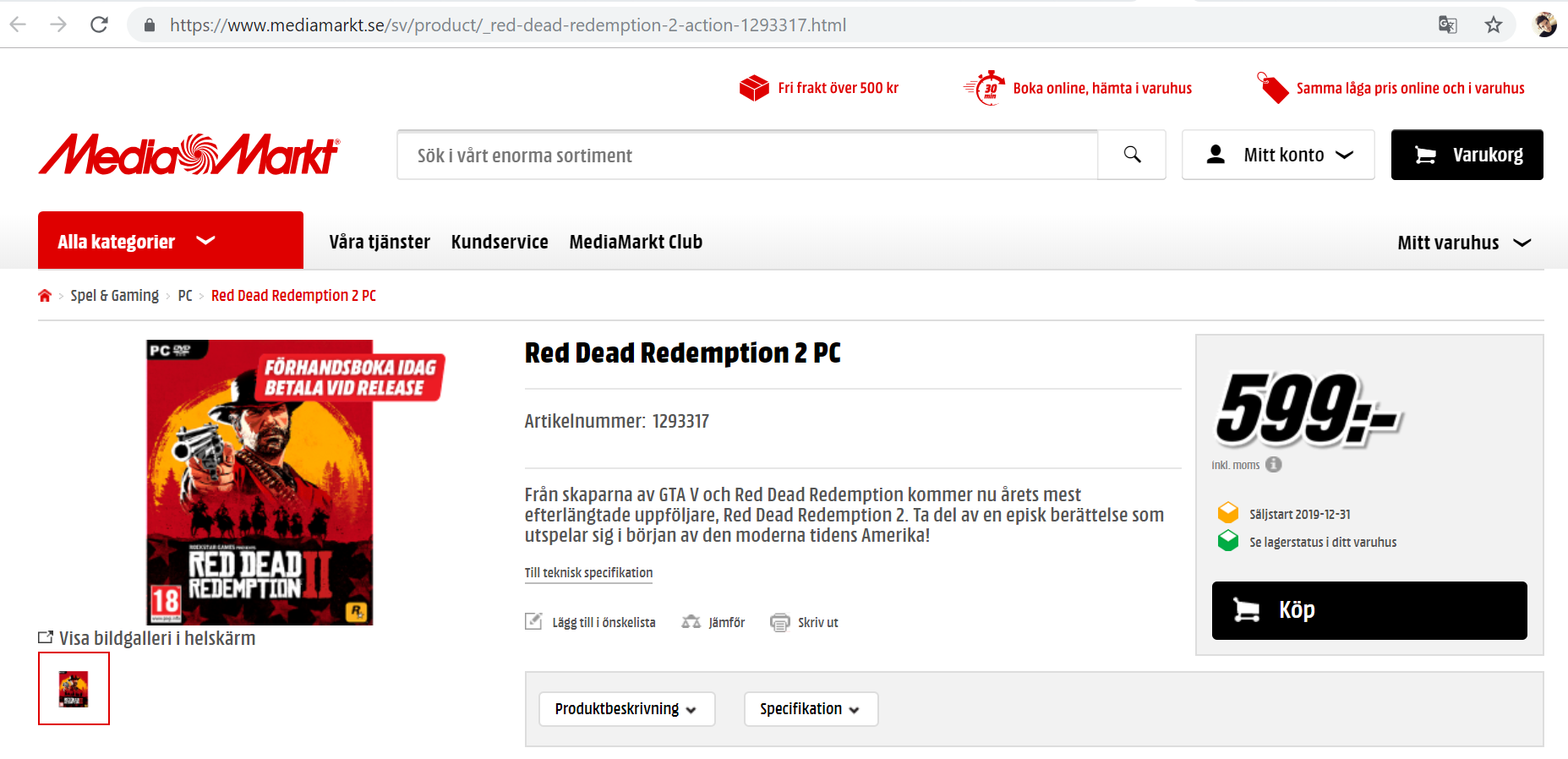 Merchant Lists Red Dead Redemption 2 For The Pc In The Sales List