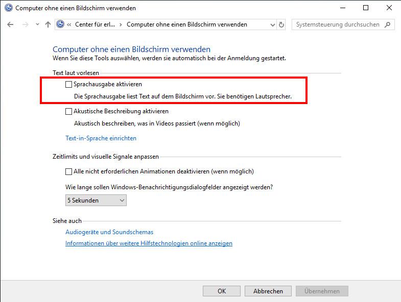 Sprachausgabe Windows 8 Deaktivieren