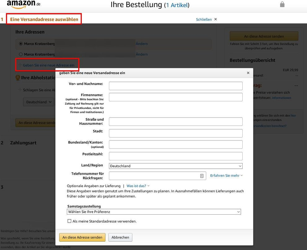 Amazon Bestellung Lieferadresse ändern