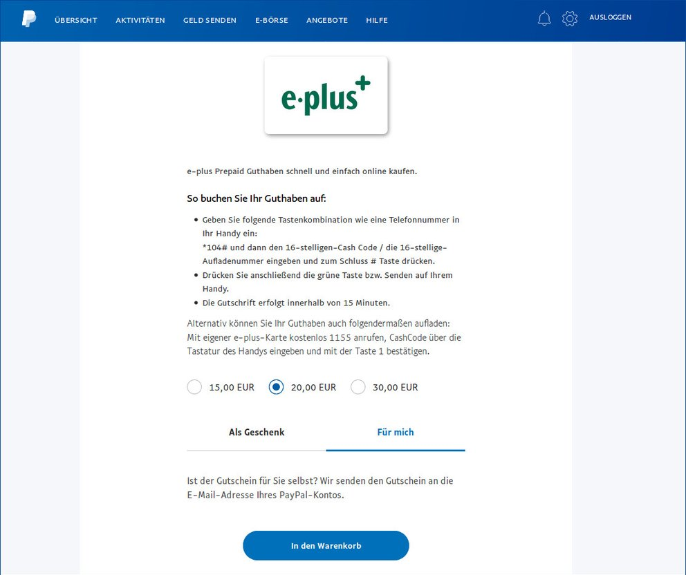 Eplus Guthaben Paypal