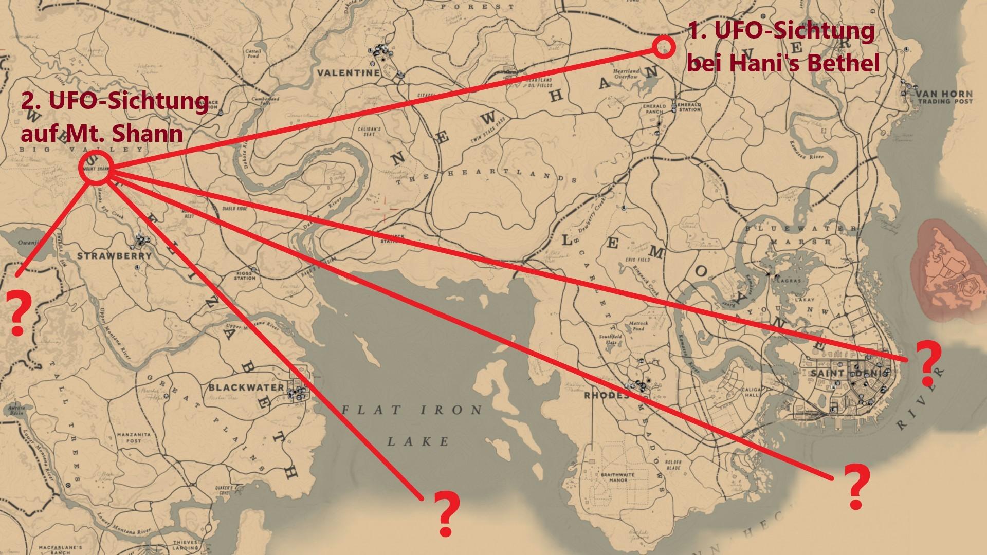 Rdr2 Karte.Red Dead Redemption 2 Panoramakarte Alle Ufo Sichtungen Bis Jetzt