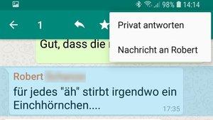 Im WhatsApp-Gruppenchat privat antworten – so geht's