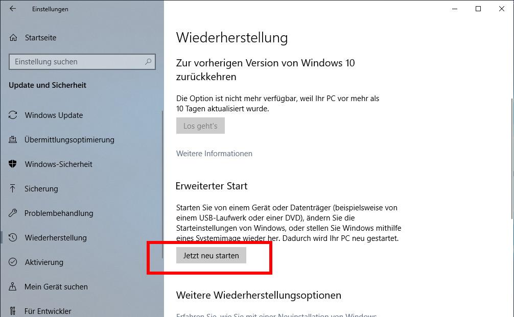 Windows 10 Bios Starten