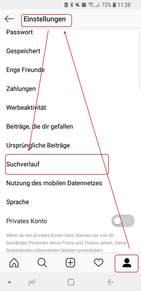Suchhistorie Löschen