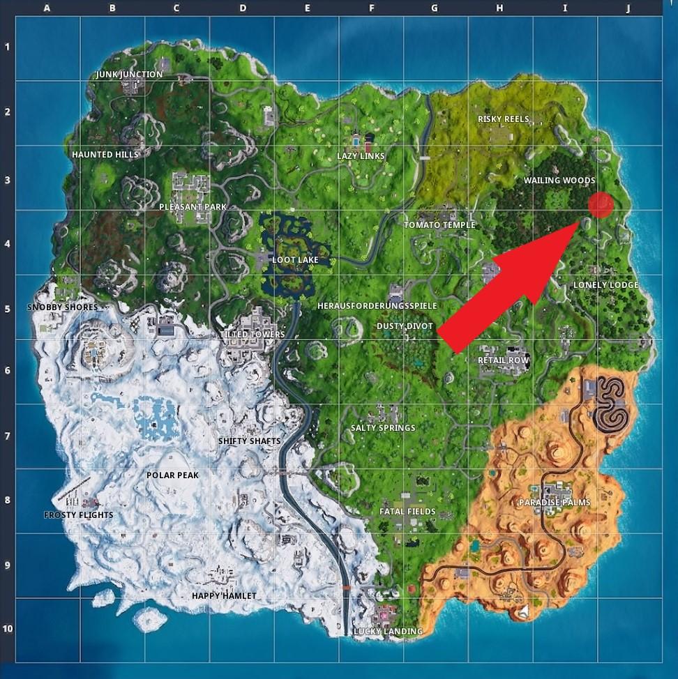 einer steinfrau und einem tieflader zu suchen diese relativ einfache herausforderung fuhrt euch zu einem bestimmten punkt im nordosten - fortnite battle pass sterne finden