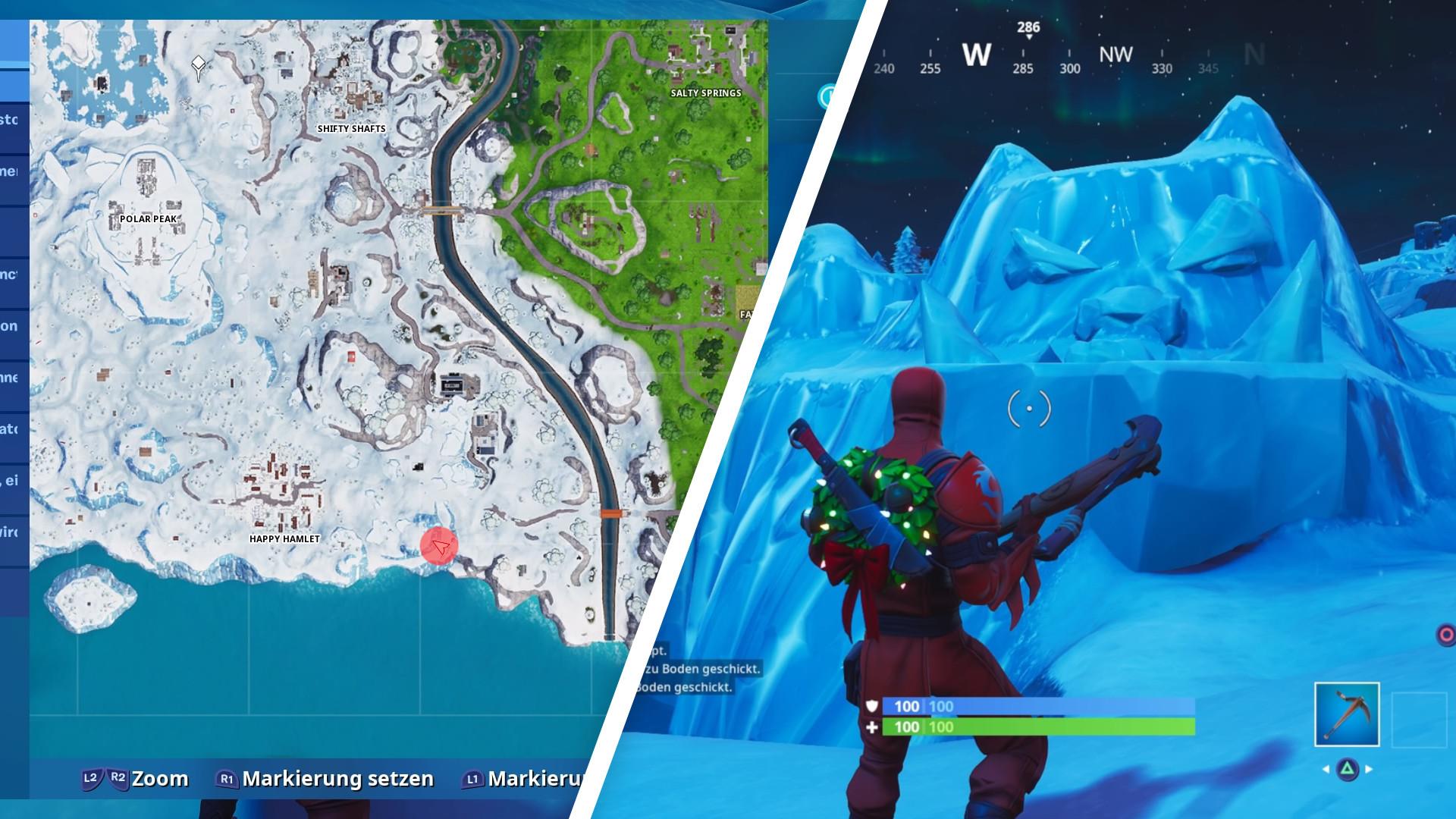 riesiges gesicht im schnee - fortnite karte season 8