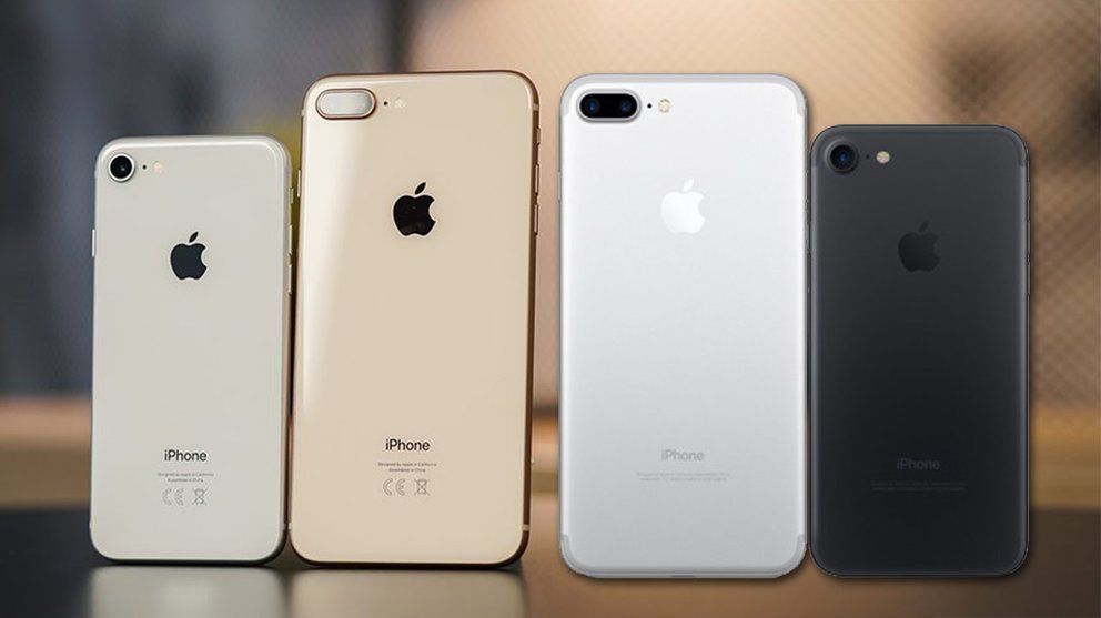 Links nach rechts: iPhone 8, iPhone 8 Plus, iPhone 7 Plus, iPhone 7