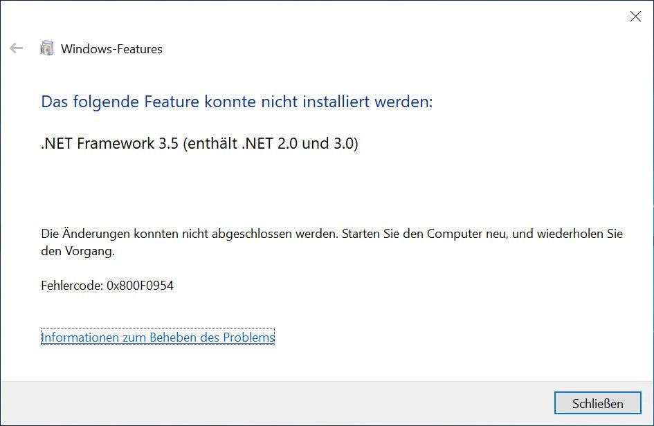 Lösung: 0x800f0954-Fehler bei Installation von  NET Framework 3 5