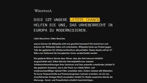 Wikipedia ist heute offline: Protest gegen Artikel 11 und 13 der EU-Urheberrechtsreform