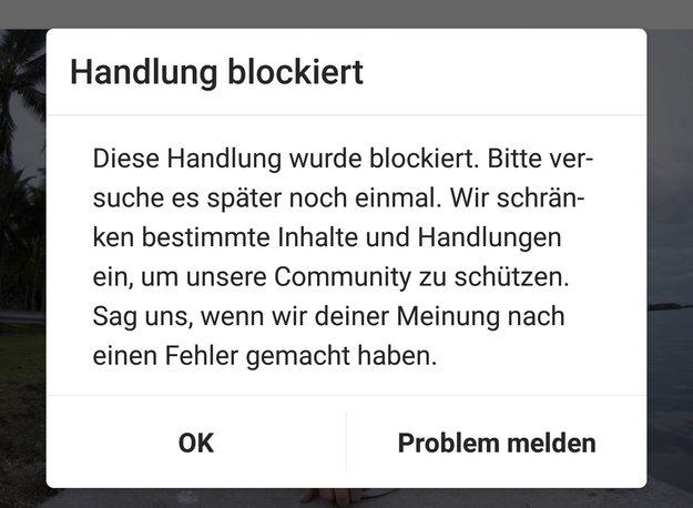 Instagram: Handlung blockiert – was tun?